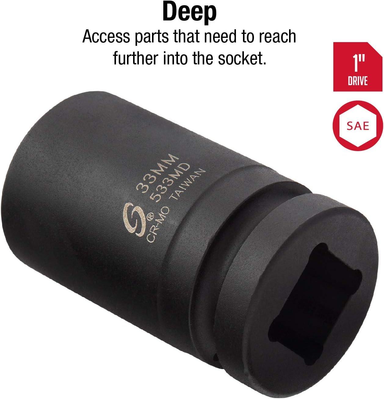 "Sunex 533MD 1/"" Drive Deep 6 Point Impact Socket 33mm"