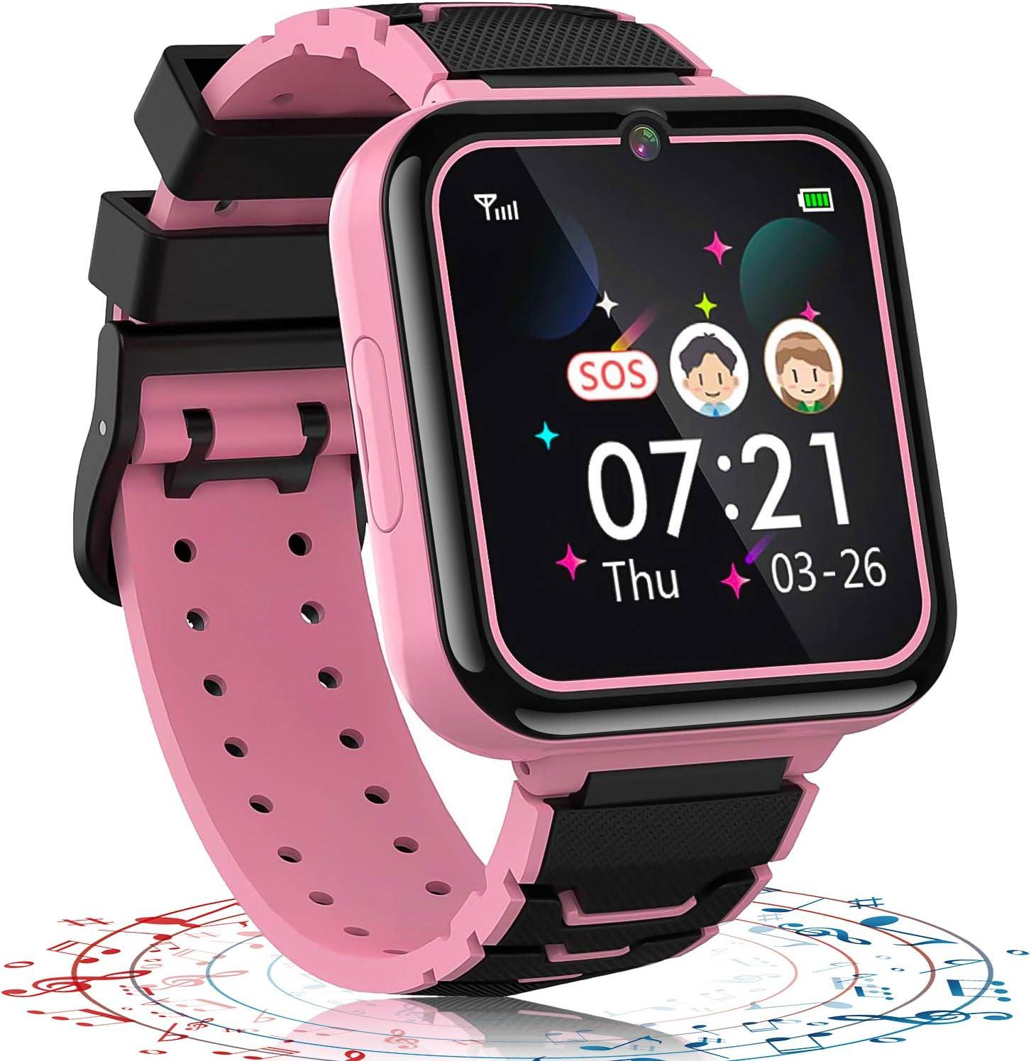 Vannico Reloj Inteligente niño, 12 in 1 Smartwatch para Niños Game Watch 7 Juegos SOS Llamada Música Cámara Grabadora para 3-12 Niño Niña, Soporta 4G/2G Tarjetas Micro SIM (Rosa)