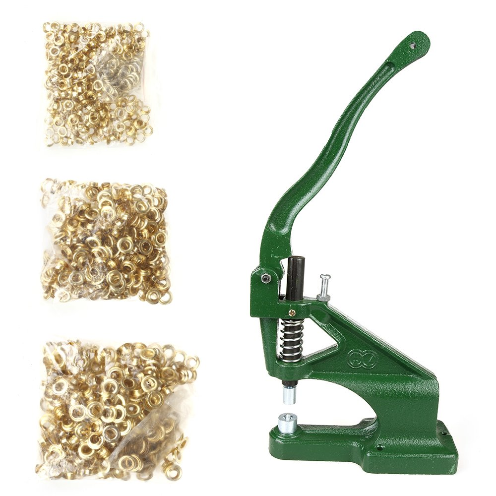 Flexzion Grommet Machine Kit with 3 Dies (#0#2#4) Sets & 900 Pieces Grommets Brass Golden Eyelet Hand Press Flag Banner Hole Making Punch Tool for Tags Bags Curtains Belts by Flexzion