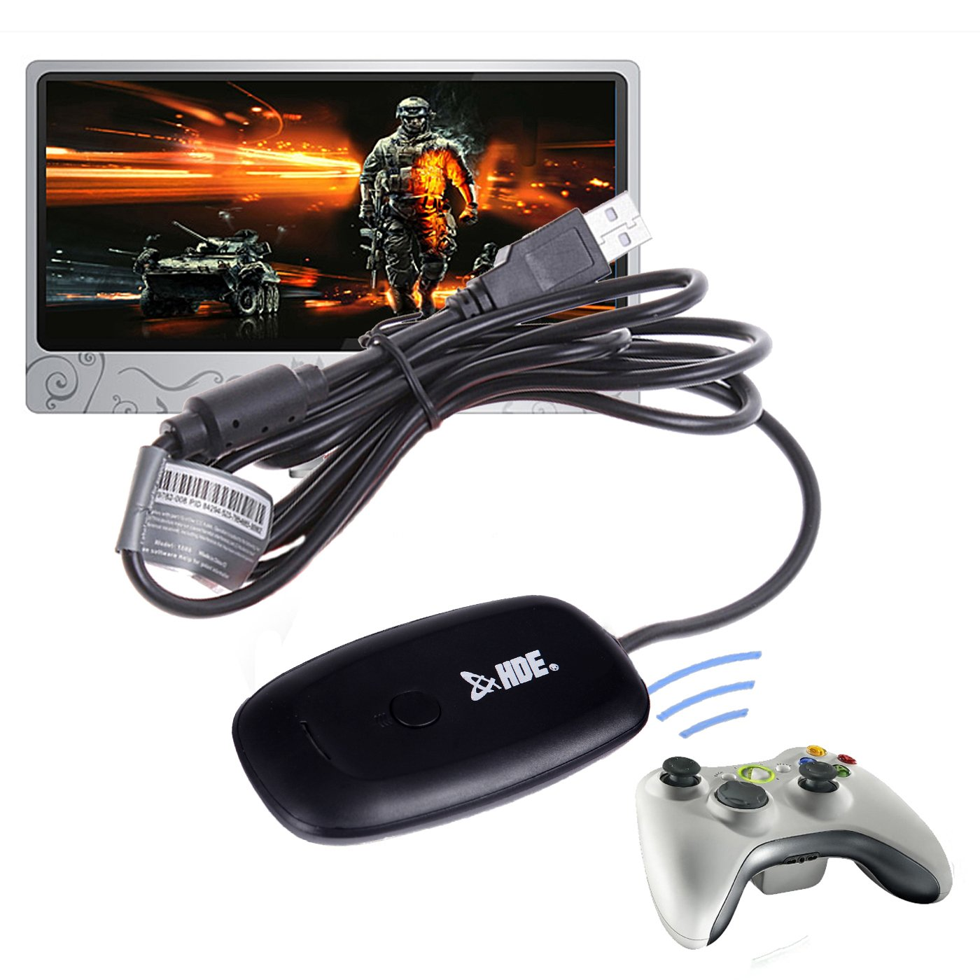 Buy HDE USB Wireless Receiver Compatible with Xbox 360 Controllers ...