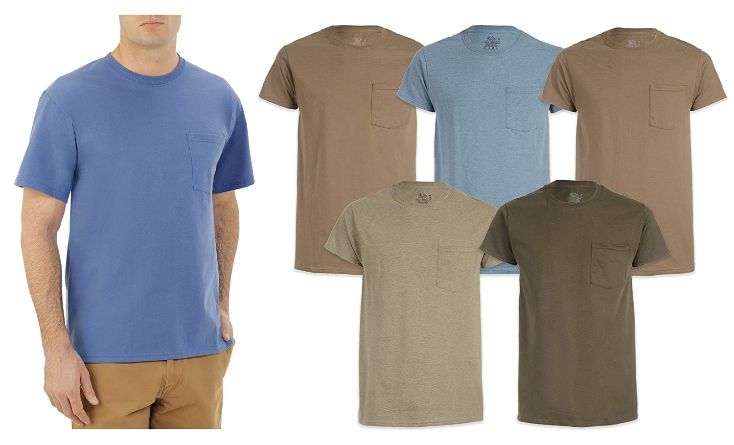 Fruit of the Loom Men's Pocket T-Shirts 5-Pack Assorted Colors. Sizes- M-XL