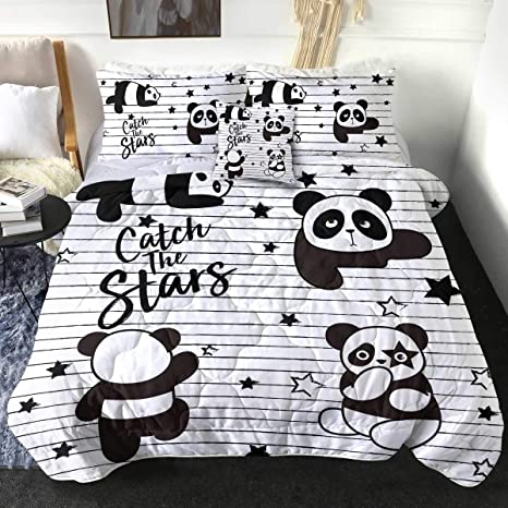Sleepwish Panda Print Kids Comforter Set Full Size Black White 4 Piece Bed Sets Reversible Duvet Lightweight Ultra Soft Cute Bedding For Girls 1 Comforter 2 Pillow Shams 1 Cushion Cover