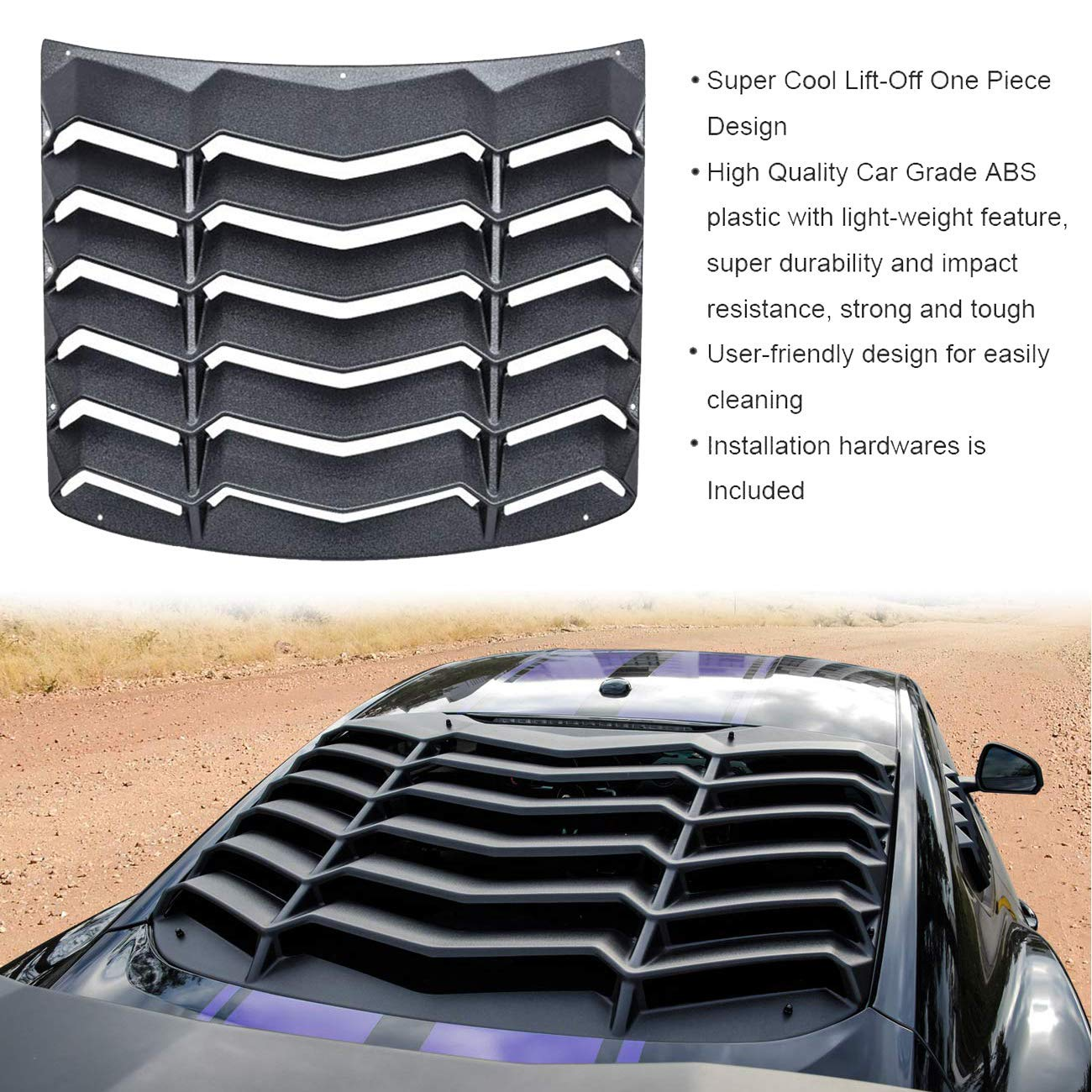 61.8inches Length GT Style Trunk Rear Spoiler Wing Tail Lid for Ford Mustang 2015-2018,Matte Black ,RearSpoilerWing