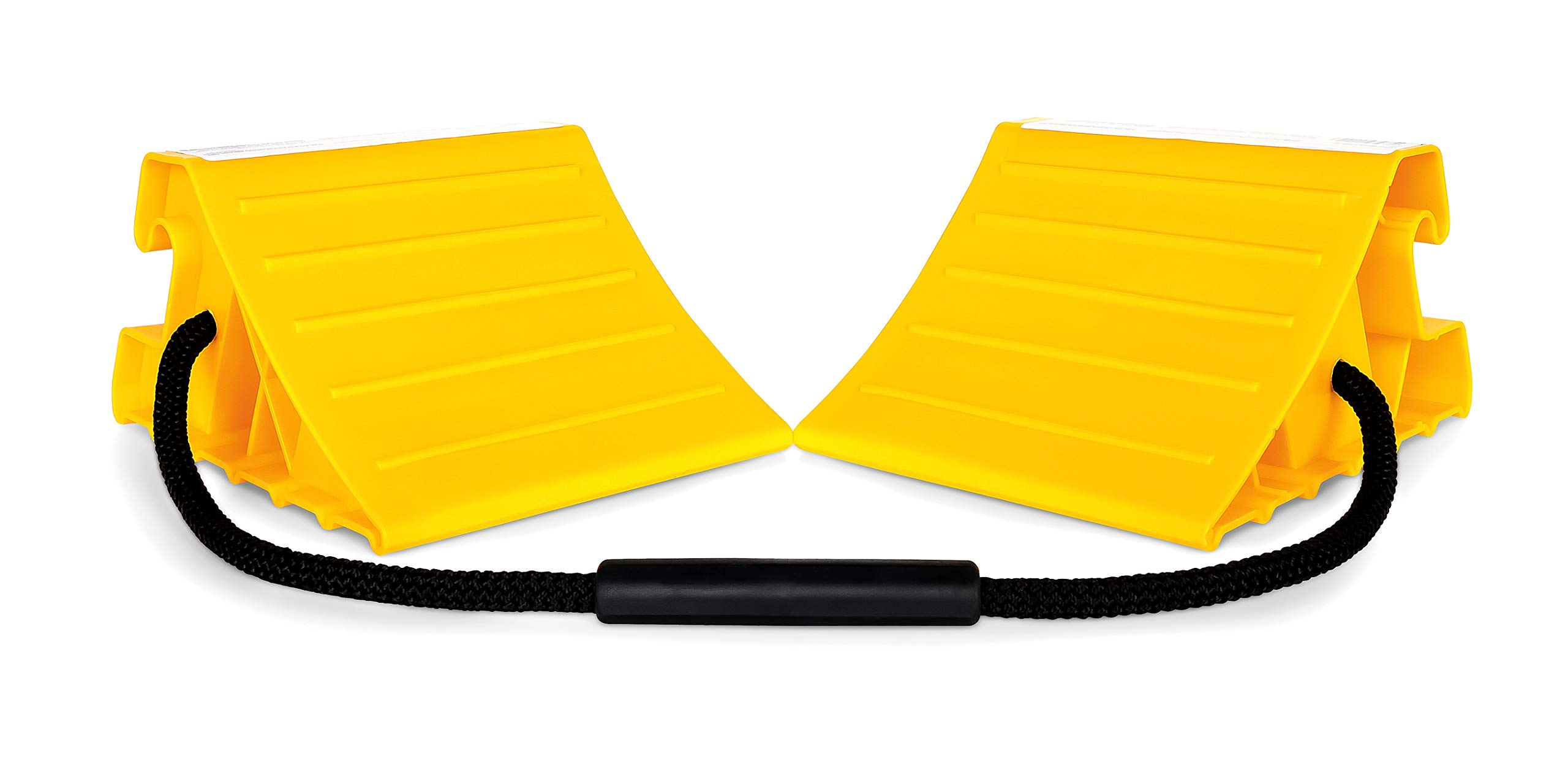 Four Pack BUNKERWALL Rubber Wheel Chocks with Durable Rope Handles Easy to Place and Remove BW3424