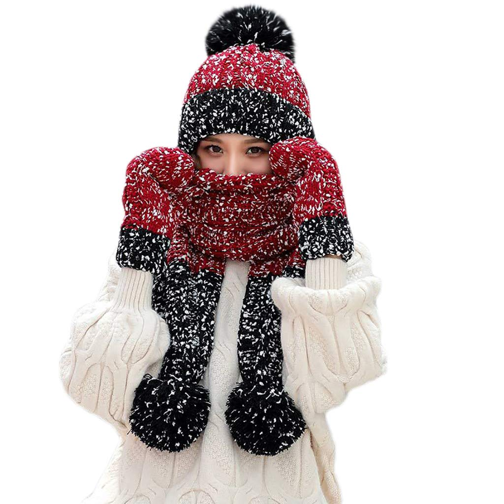 FarJing 3Pcs Women Winter Warm Multicolor Knitted Hair Ball Beanie Hat Hat+Scarf+Gloves Set(Wine)