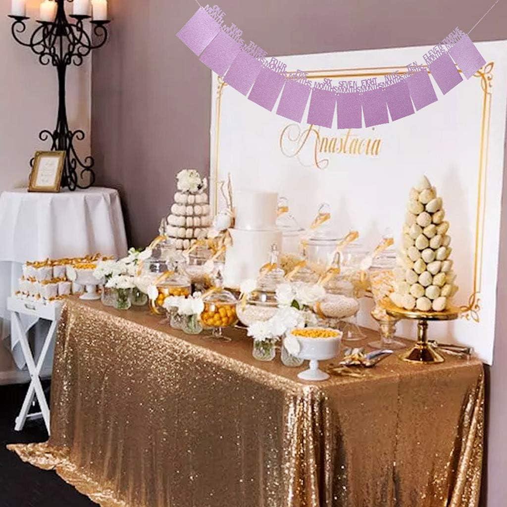 guirlande de b/éb/é 1-12 mois de photoalogue pour la premi/ère communion violet premier anniversaire D/éco de paillettes bapt/ême babyshower d/écoration banni/ère cadre photo 1er anniversaire