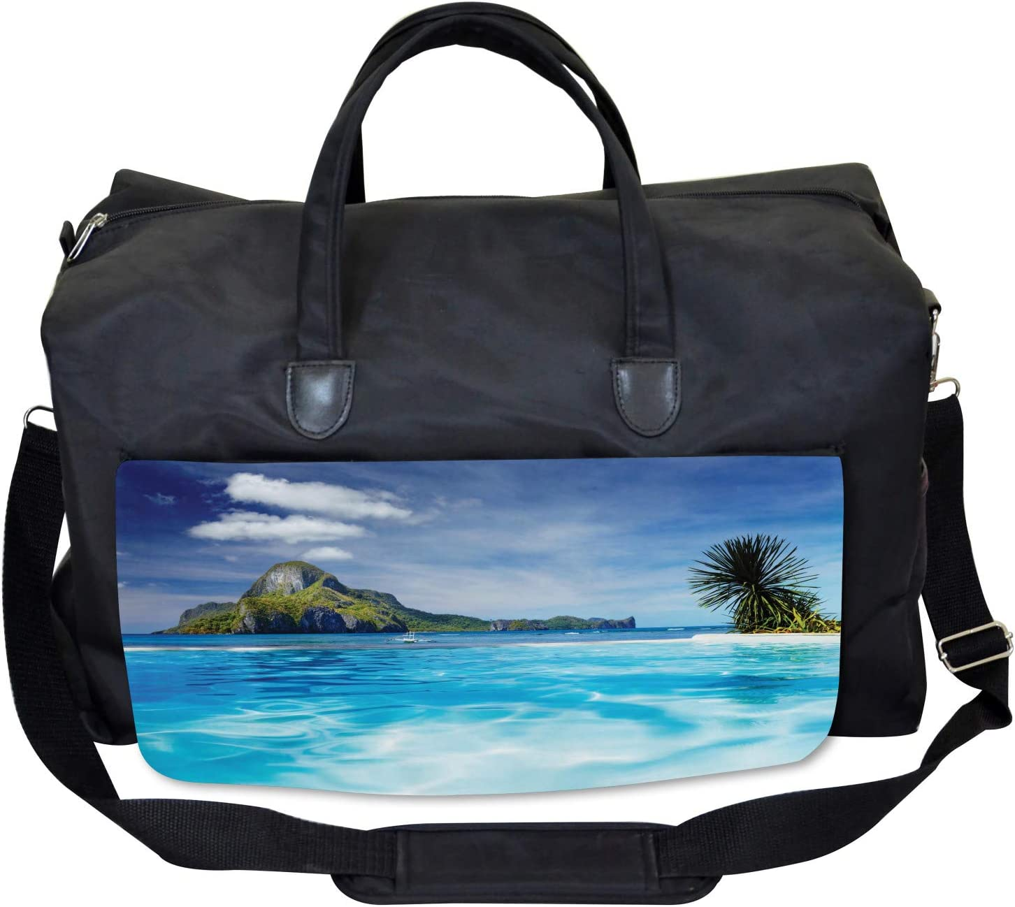 Ocean Mountain Palms Large Weekender Carry-on Ambesonne Turquoise Gym Bag