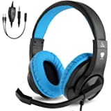 BlueFire Gaming Headset Kids with Microphone, 3.5mm Wired Comfortable Bass Stereo Volume Control for PS4/Xbox One/Xbox One S/Xbox One X/Nintendo Switch/PS4 Slim/S4 Pro/PC/Computer/Phones (Blue)