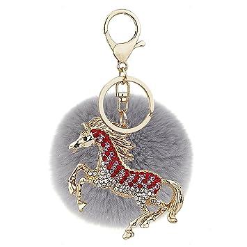 Ayiqi Solid Color Rabbit Plush Ball Horse Pendant Keychain Fluffy Handbag Charm Key Ring Car Key...