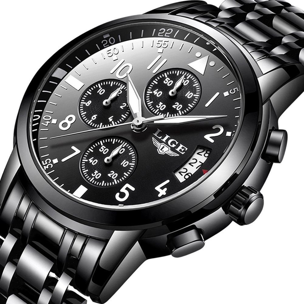 Mens Watches,LIGE Chronograph Luminous Analog Quartz Wrist Watches Waterproof Stainless Steel All Black Watch for Men