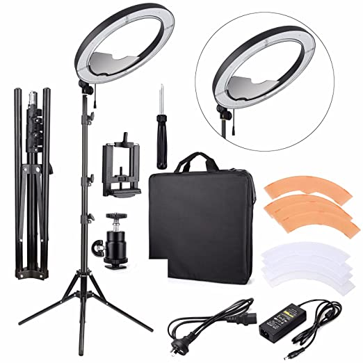 """Eachshot Es240 Kit, Including Light, Stand, Mirror, Bag, Bracket} 18"""" 5500 K Dimmable Led Ring Light With 2 Color Diffuser For Makeup, Portrait Photography, Selfie, Camera Smartphone Youtube by Eachshot"""