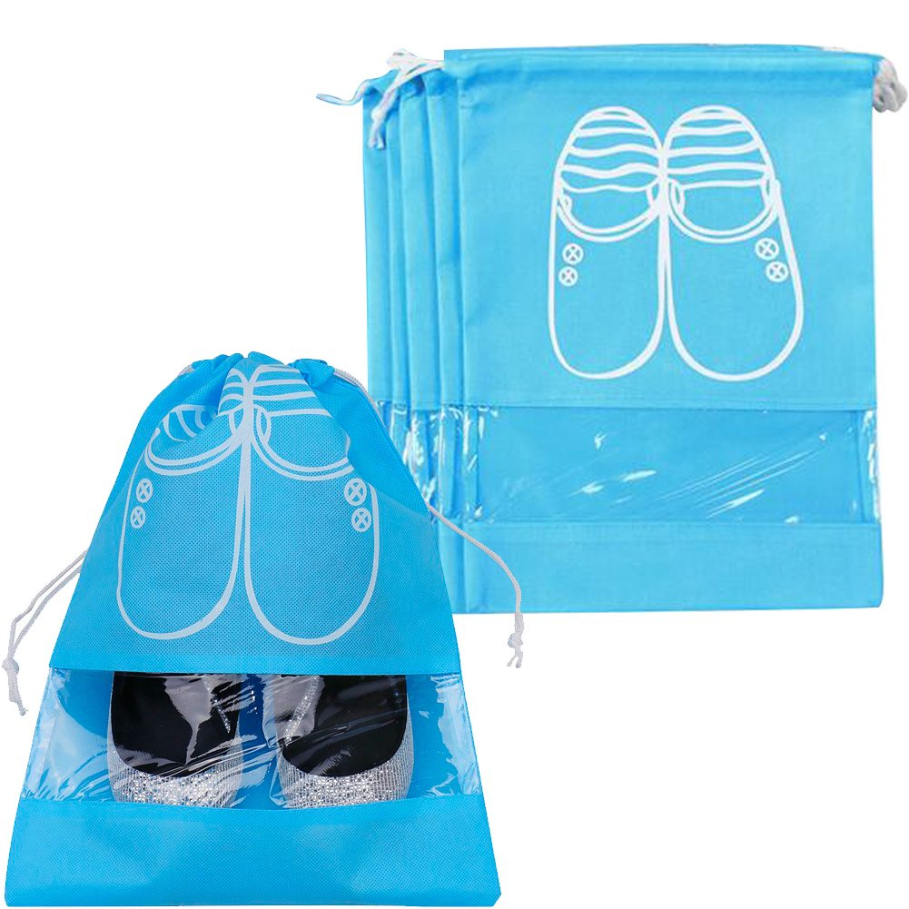Pack of 5 Portable Dust-proof Breathable Travel Shoe Organizer Bags for Boots, High Heel -- Drawstring, Transparent Window, Space Saving Storage Bags, Medium Size, Sky Blue westonetek A0069-1