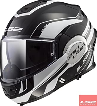 LS2 FF399 Cascos modulares de Moto Motocicleta Bicicleta Valiente Convertir Lumen Negro Mate XS(53