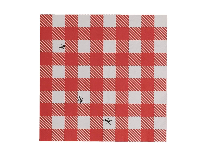 One Hundred 80度レッドギンガムwith Ants用紙昼食と夕食ナプキン、60カウント B07DPTLD8F