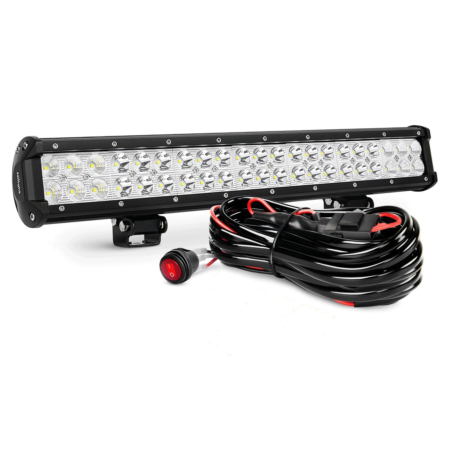 Best Rated In Automotive Light Bars Helpful Customer Reviews Snow Bear Trailer Wiring Diagram Tail Nilight Zh006 Bar 20inch 126w Spot Flood Combo Led Off Road Lights With 16awg Harness