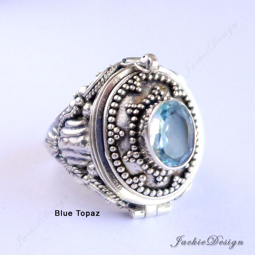 Blue Topaz Poison Ring Locket Bali Sterling Silver Secret Compartment