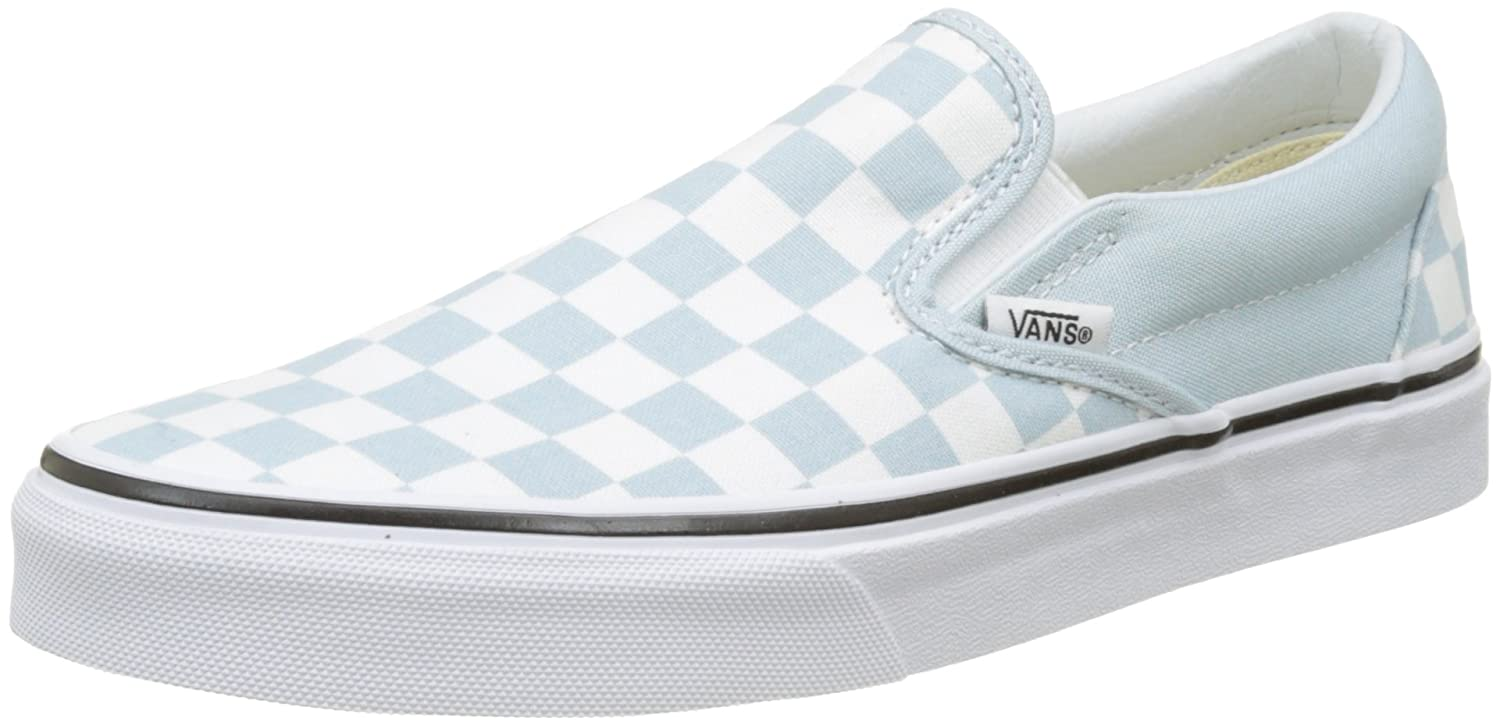 Vans Women's Classic Slip on Trainers, Blue ((Checkerboard) Baby Blue/True  White Qck), 5 UK 38 EU