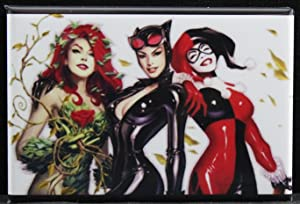 Harley Quinn, Poison Ivy & Catwoman Refrigerator Magnet.