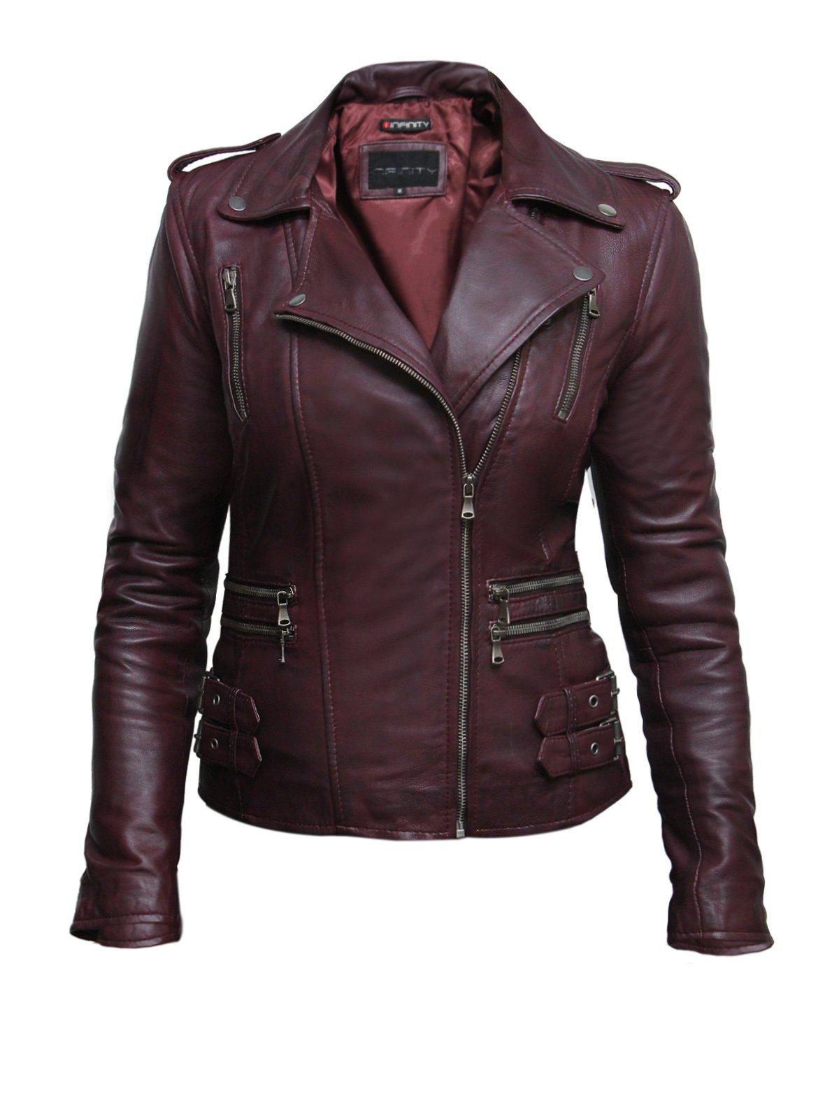 Brandslock Womens Real Leather Biker Jacket Black Fitted Bikers Style Vintage Rock (S, Brgundy)