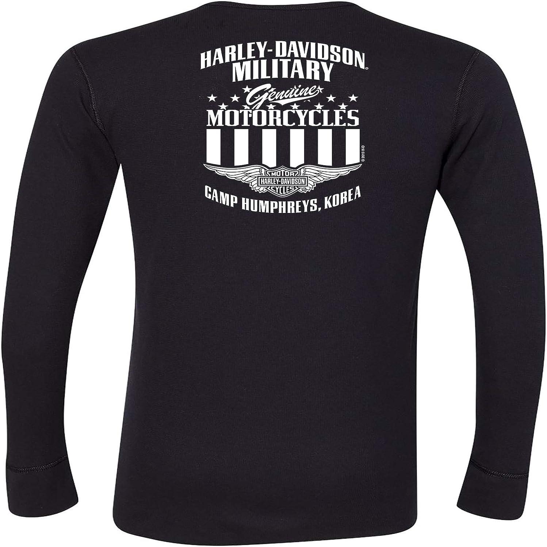G Skull Mens Black Long-Sleeve Skull Graphic Thermal Shirt HARLEY-DAVIDSON Military Overseas Tour