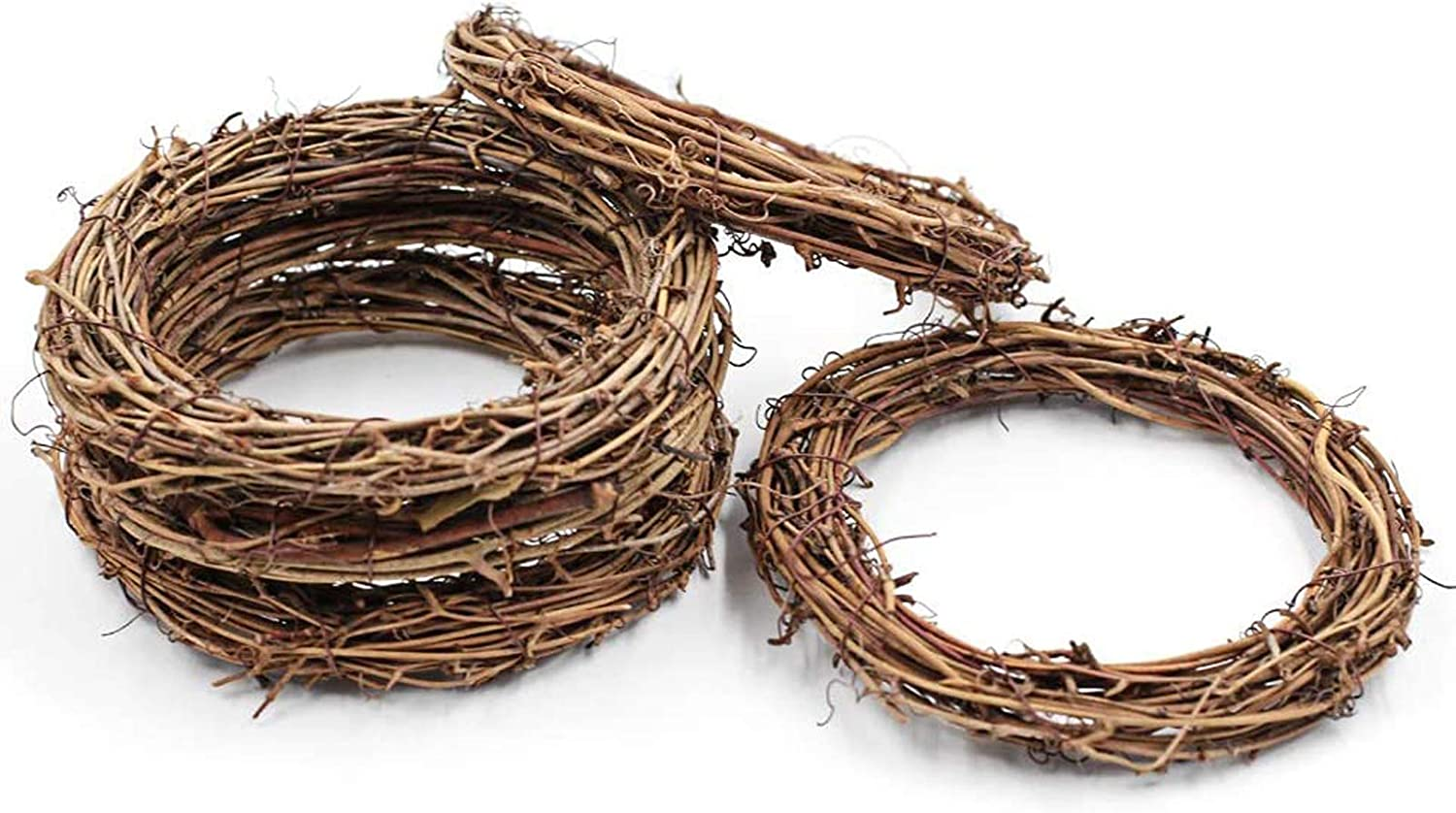 aoory Natural Rattan Wreath Grapevine Wreath Base DIY Crafts for Wedding Party Door Garland Home Hanging Decor 6Pcs