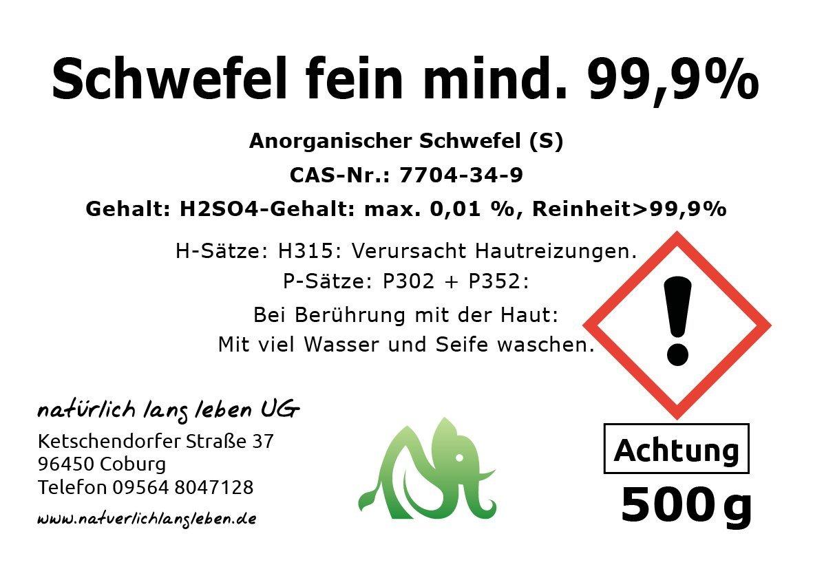 Anorganischer Schwefel Sulfur Fein Mind 999 500g Pharmazeutisch