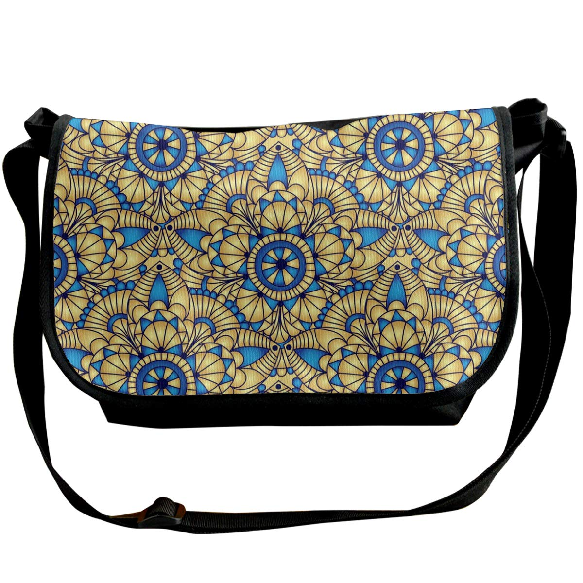 Taslilye Vintage Seamless Gold Pattern Vector Image Personalized Wide Crossbody Shoulder Bag For Men And Women For Daily Work Or Travel