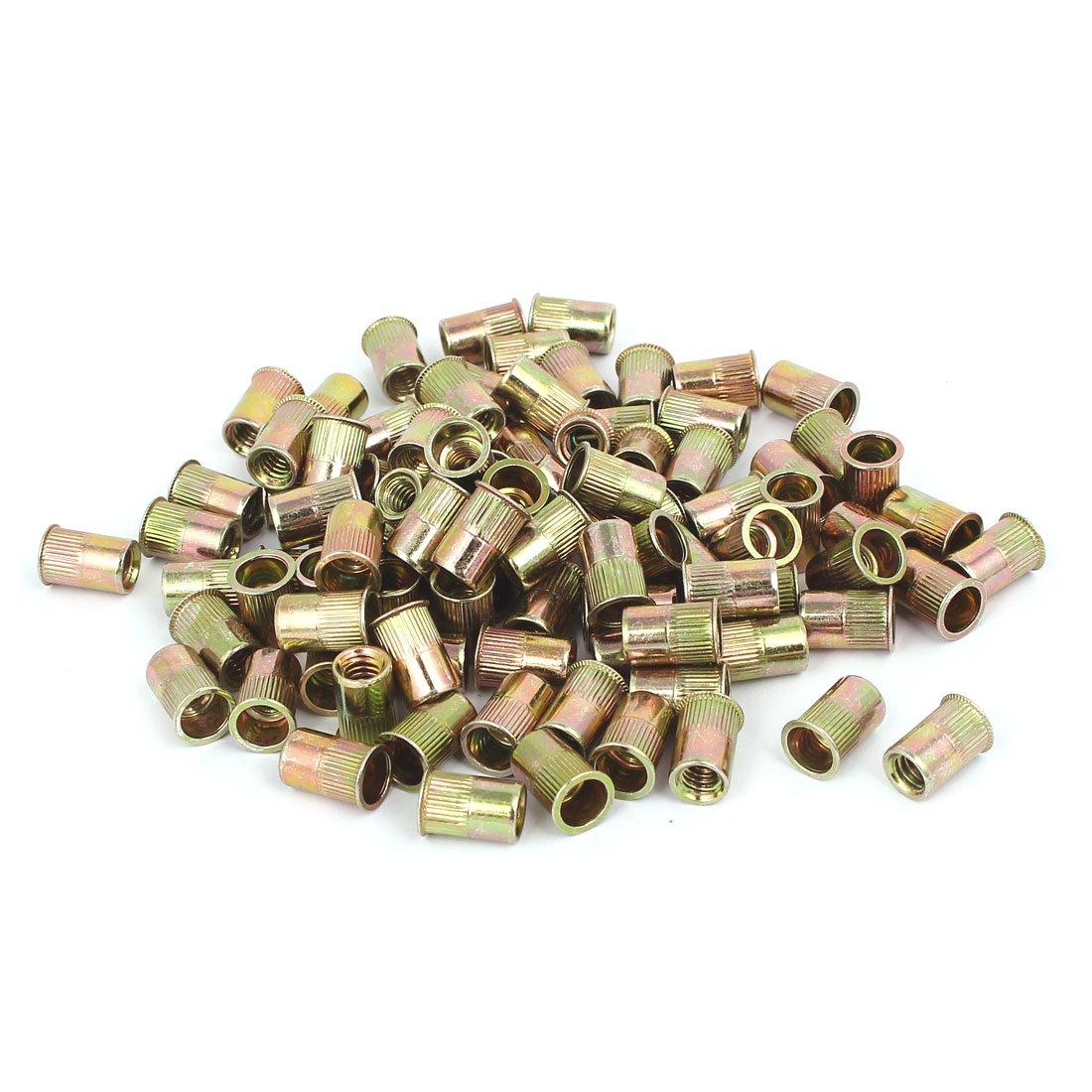 uxcell 1/4 Inch Straight Knurled Reduced Head Rivet Nut Nutsert Bronze Tone 100pcs