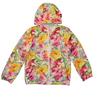 3abeb574f Image Unavailable. Image not available for. Color: GAP Kids Girls Floral  Jersey Lined Hooded Windbuster Jacket ...