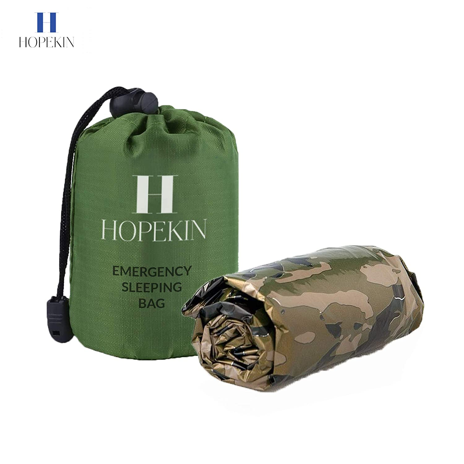 Survival Bivy Sack with Portable Drawstring Bag 100/% Waterproof Ultralight Thermal Emergency Blanket for Body-Heat Reflection HOPEKIN Compact Emergency Survival Sleeping Bag