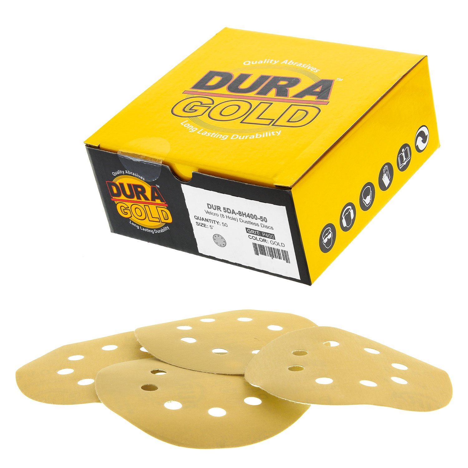 "Dura-Gold Premium - 400 Grit - 5"" Gold Sanding Discs - 8-Hole Dustless Hook and Loop for DA Sander - Box of 50 Finishing Sandpaper Discs for Woodworking or Automotive 71Y8eDmf8vL"