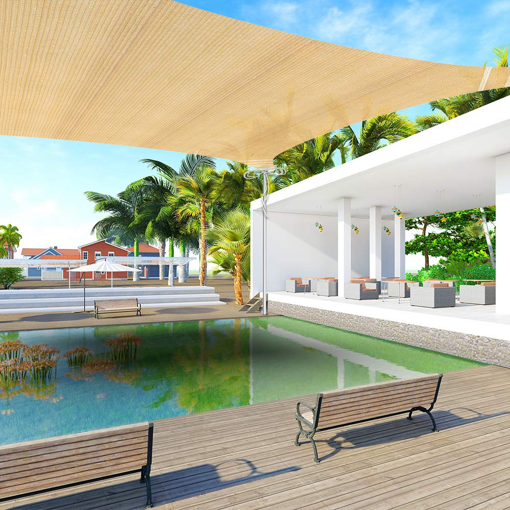 Ankuka 13' x 16.5' Sun Shade Sail Canopy Rectangle Sand UV Block for Outdoor Patio and Garden, Yard Activities by Ankuka
