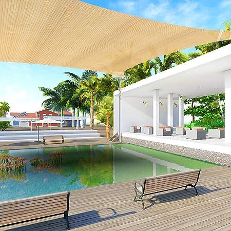 Ankuka 13 x 16.5 Sun Shade Sail Canopy Rectangle Sand UV Block for Outdoor Patio and Garden, Yard Activities