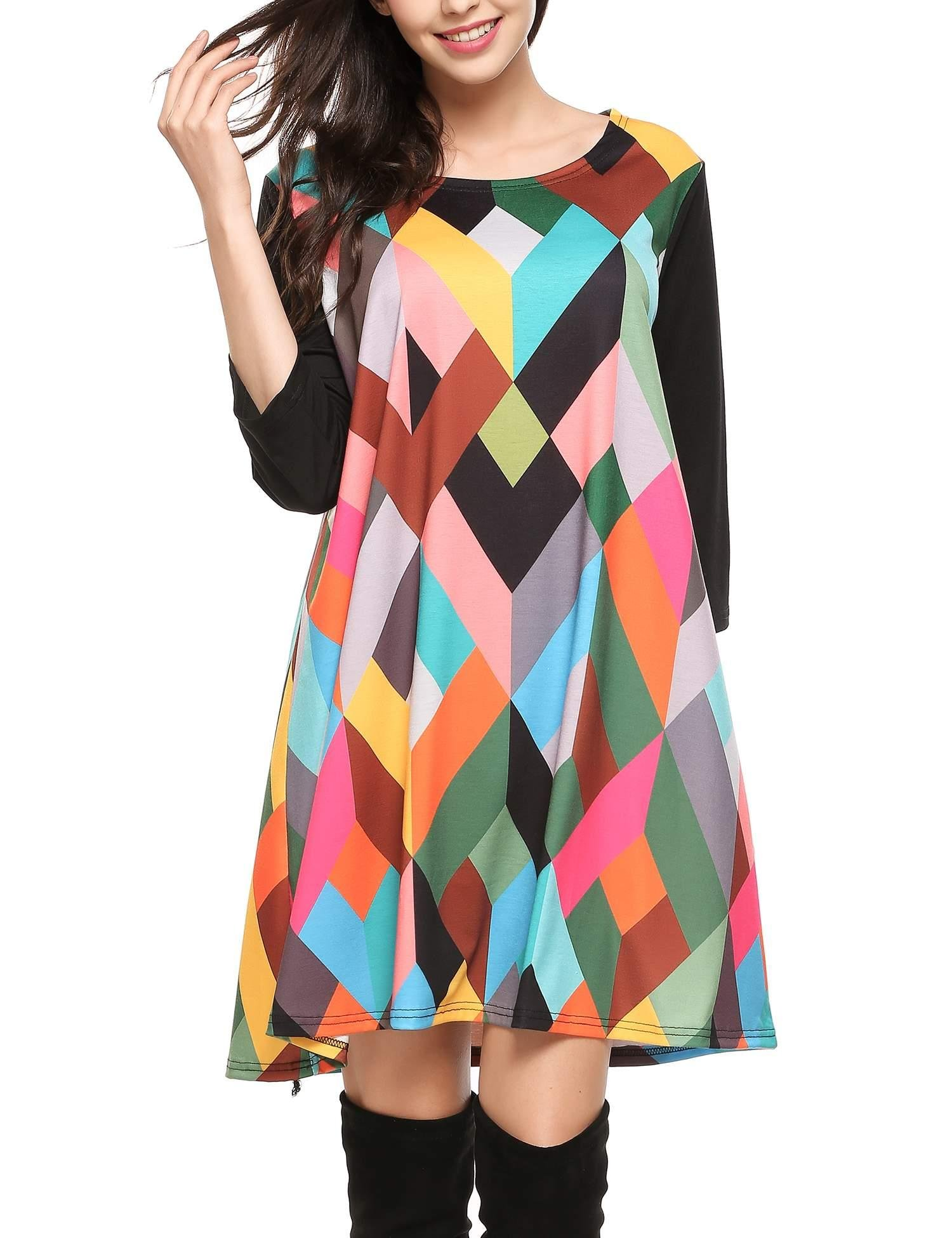 Zeagoo Women\'s Geometric Prints Loose Casual Summer Fall Tunic Top Dress Black XXL