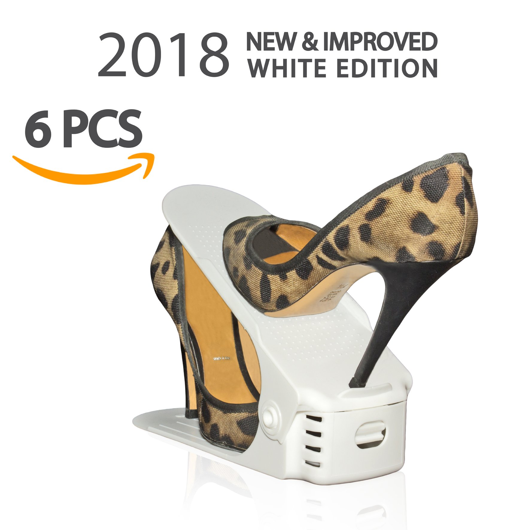 2018 White Edition Shoe Slots (6 Pack) - Adjustable Shoe Organizer Space Saver
