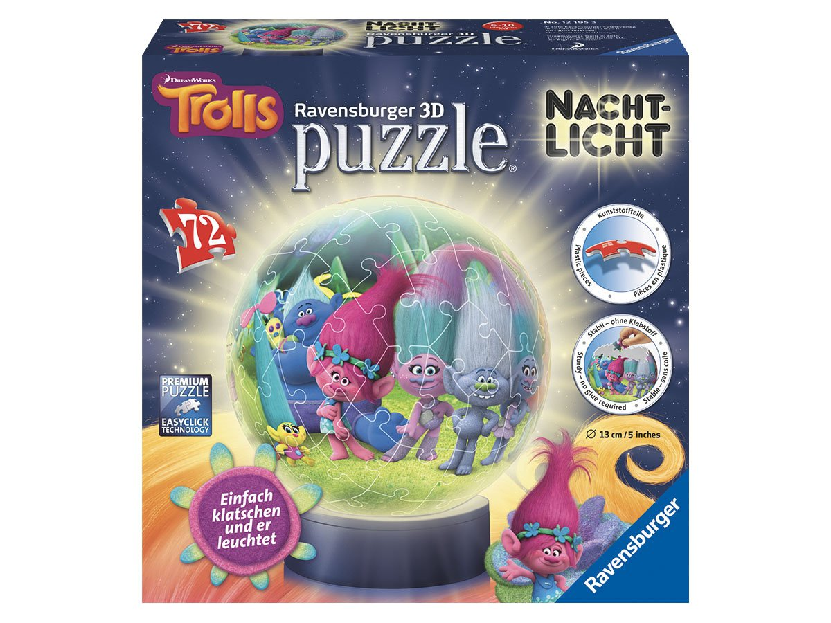 Ravensburger 3D-Puzzle 12195 - Trolls: 3D Puzzle-Ball, 72-teilig Nachtlich Ravensburger Spieleverlag 121953