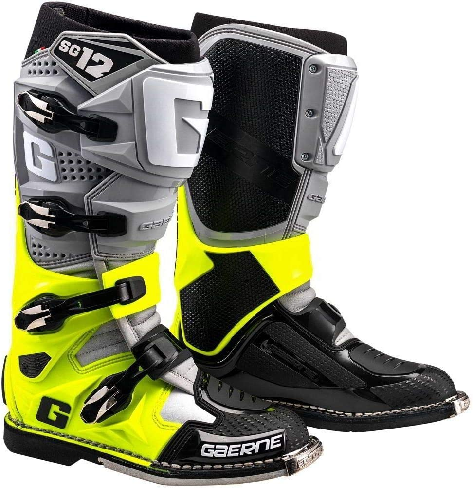 Gaerne Mens SG-12 Motocross Boots Mens Size 10.5 Grey//Flo Yellow//Black
