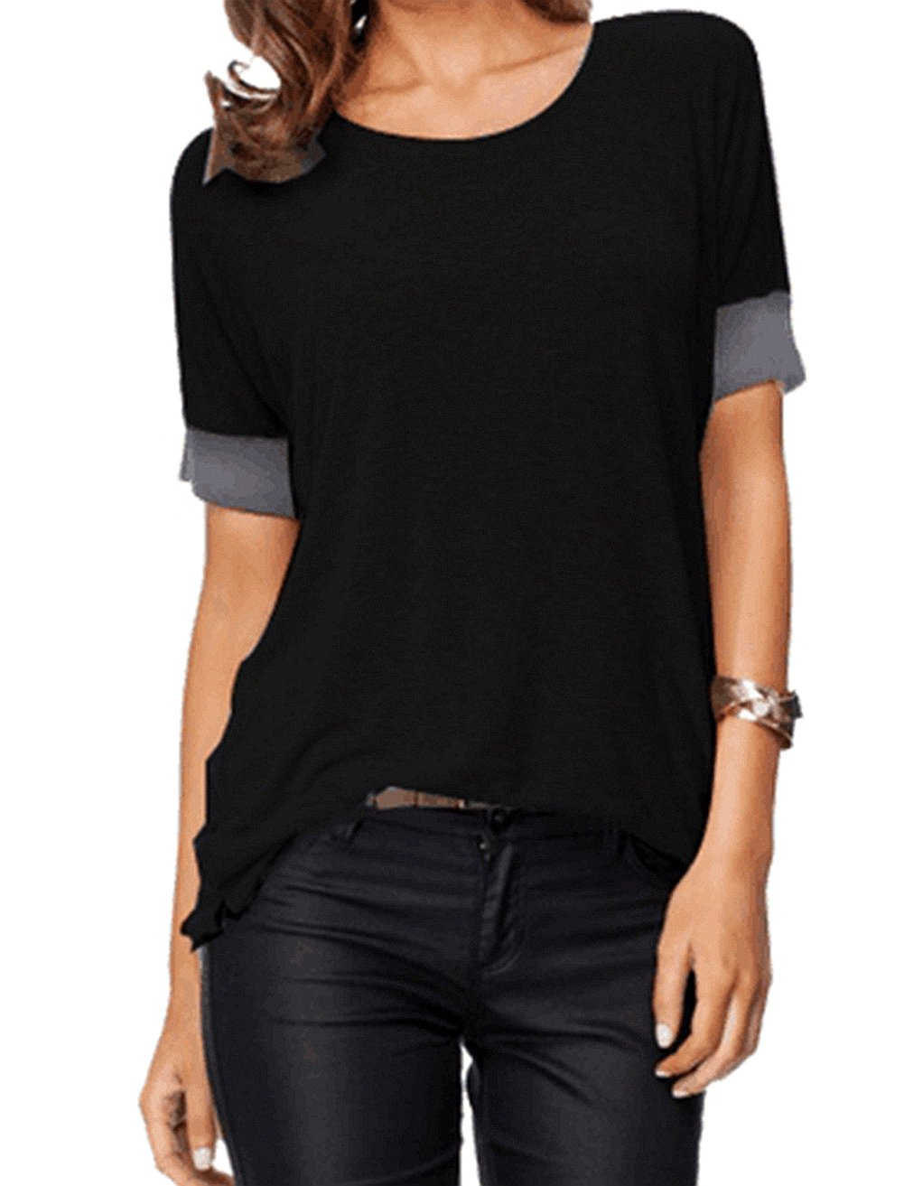 Sarin Mathews Women's Casual Round Neck Loose Fit Short Sleeve T-Shirt Blouse Tops Black XL