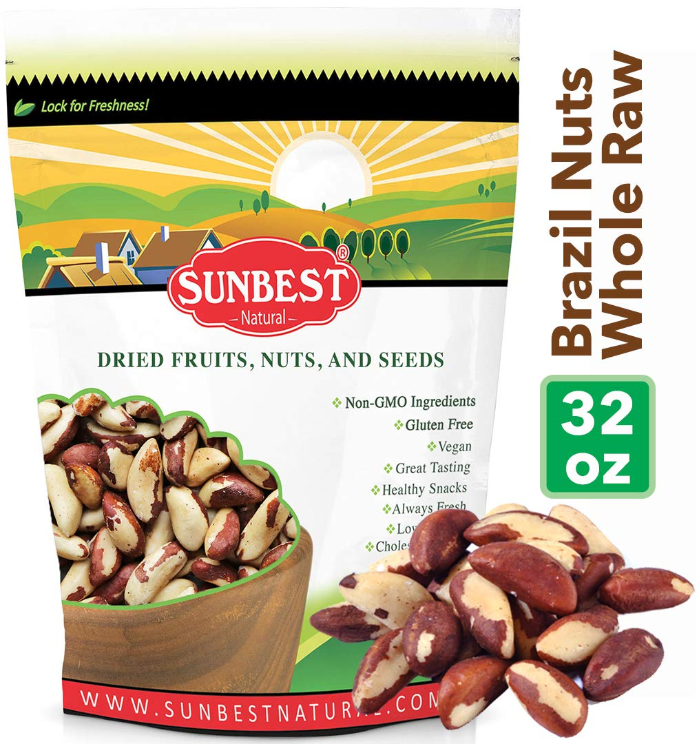 SUNBEST Whole, Raw, Shelled Brazil Nuts in Resealable Bag ... (2 Lb) by SUNBEST NATURAL
