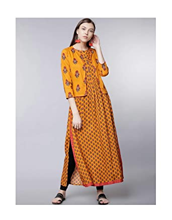 4940d7b20dc Amazon.com  Hiral Designer Mall 3 4 Sleeves Women Mustard Yellow Printed  A-Line Kurta with Jacket Gown Dress for Women (XS)  Clothing