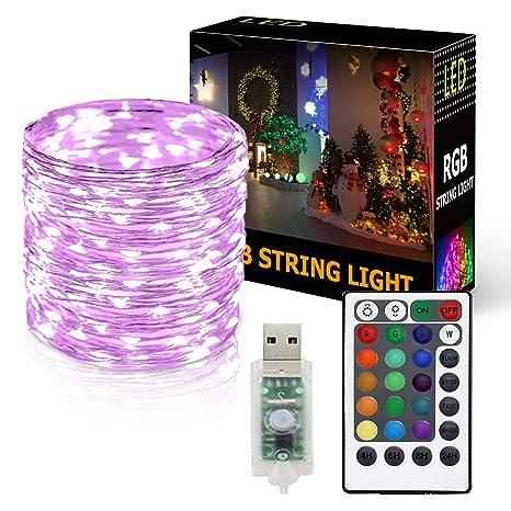 Onforu 10M USB LED Guirnaldas RGB   100 Luces de Cadena con Control Remoto   IP65 Impermeable Tiras   16 Colores y 4 Modos Iluminación Interior y ...