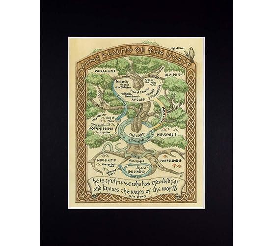 Norse World Map.Amazon Com Norse Mythology World Map Fine Art Print Reproduction