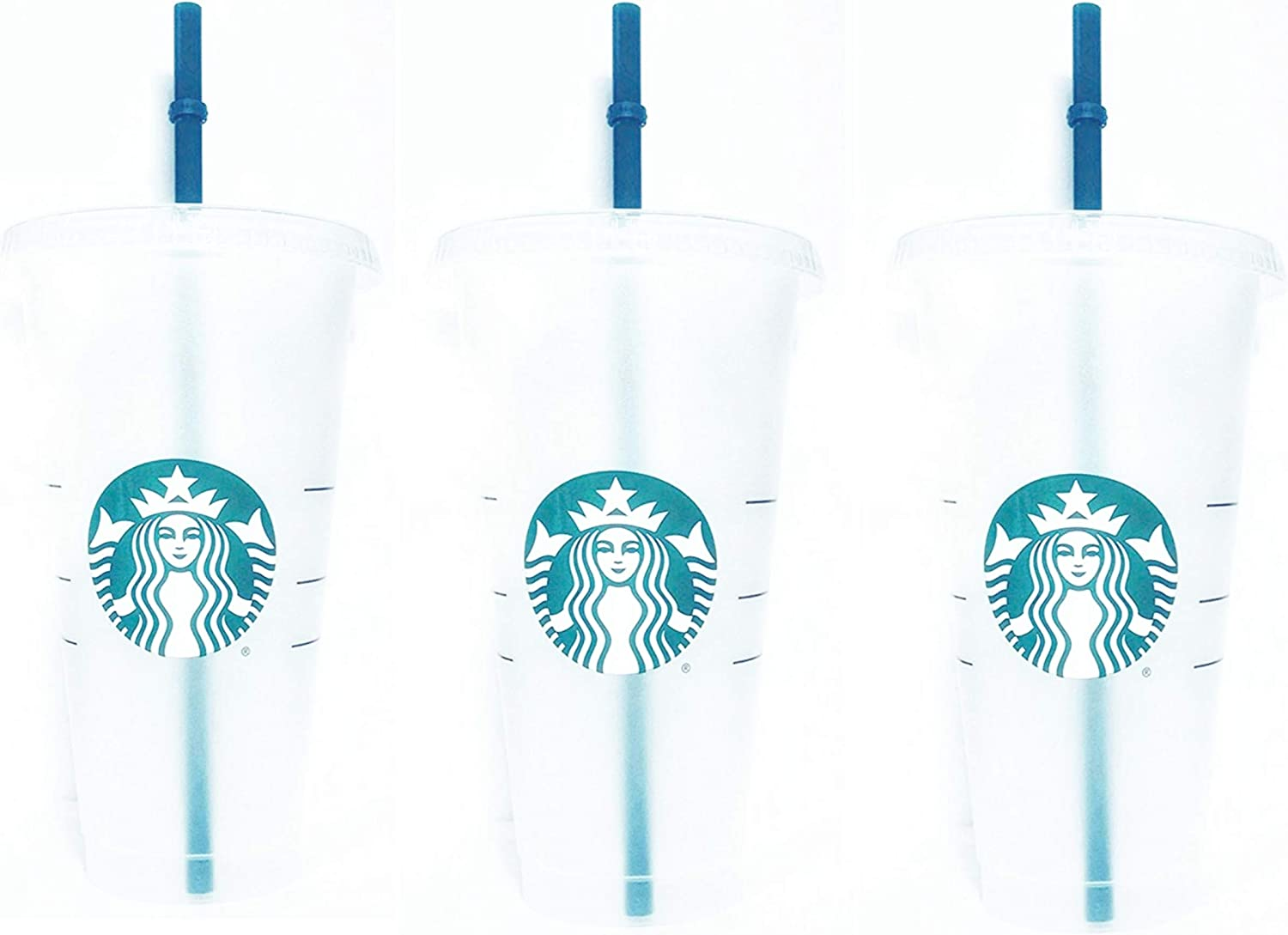 Starbucks Reusable 3 Hard Plastic Venti 24 oz Frosted Ice Cold Drink Cup With Lid and Green Straw w/Stopper