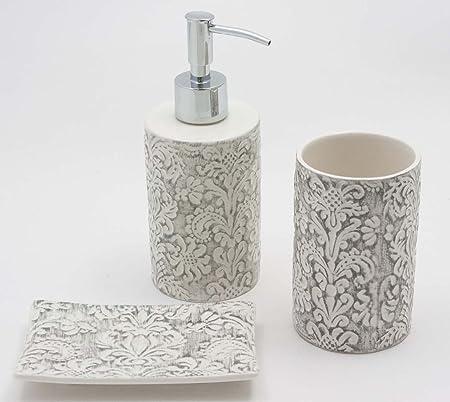 Seifenspender und Zahnputzbecher Flair Bad Accessoires Set 2 teilig Keramik Creme Lavendel