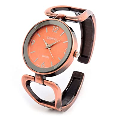 f8ebd6f21 Image Unavailable. Image not available for. Color: Geneva Brushed Finish  Copper Metal Large Face Women's Bangle Cuff Watch