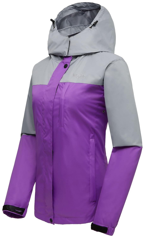 Wantdo Womens Mountain Windproof Rain Jacket Breathable Hooded Windbreaker Outdoor Lightweight Raincoat for Camping Hiking