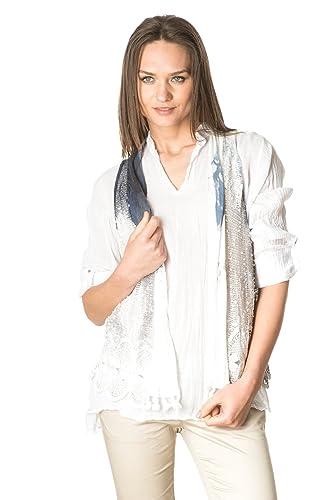 Laura Moretti - Set de dos piezas: Blusa blanca asimétrica de algodón con escote en V y chaleco cala...
