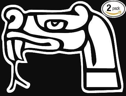 ANGDEST Aztec Snake Symbol White Set Of 2 Premium Waterproof Vinyl Decal
