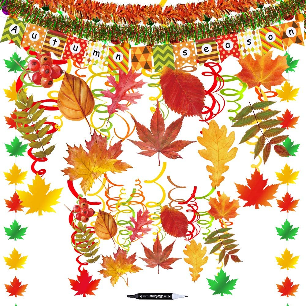 45 Pcs Fall Party Swirls Hanging Foil Swirl Streamers with Foil Autumn Leaf Strings Fall Banner Tinsel Garland for Thanksgiving Halloween Bachelorette Wedding Birthday Ceiling Backdrop Decoration