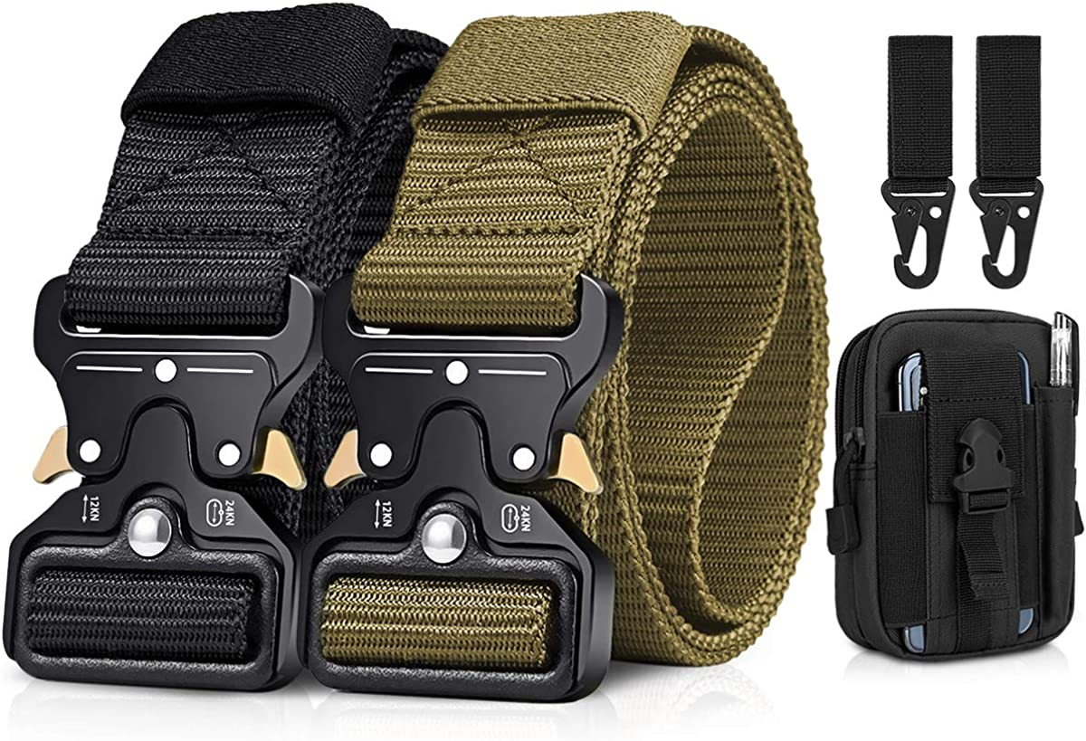 2 Pack Men Tactical Belt 1.5 Inch Heavy Duty Belt Gift with Tactical Molle Pouch and Hook BESTKEE Nylon Military Belt with Quick-Release Metal Buckle